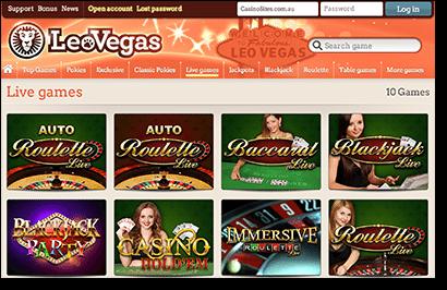 Leo Vegas Live Dealer Casino Games Online